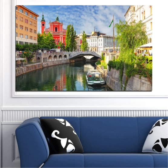 Canvas prints & wall decorative panels - 1 piece №0121 » Turquoise, Brown, Gray, Dark grey » City, Sky, Venice, Europe, Boat, Ljubljana Form #1