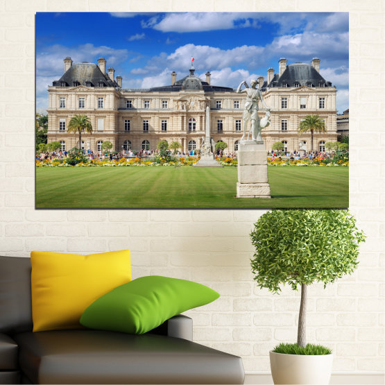 Canvas prints & wall decorative panels - 1 piece №0122 » Blue, Green, Brown, Gray, Beige » City, Castle, Capital, Luxembourg Form #1