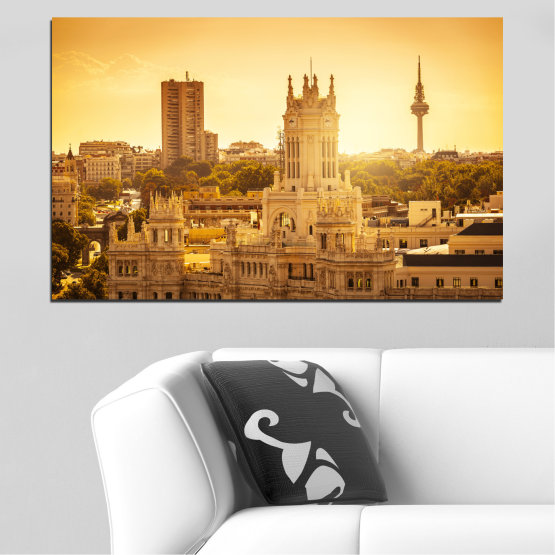 Canvas prints & wall decorative panels - 1 piece №0123 » Yellow, Orange, Brown, Beige » City, Sunrise, Spain, Capital Form #1