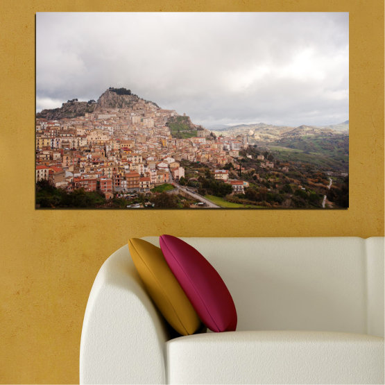Canvas prints & wall decorative panels - 1 piece №0124 » Brown, Gray, White, Dark grey » Landscape, Europe, Nicosia Form #1