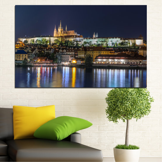 Canvas prints & wall decorative panels - 1 piece №0125 » Brown, Black, Gray, Dark grey » City, Night, Capital, Czech republic Form #1