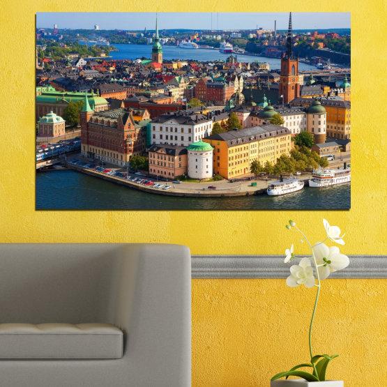 Декоративни панели и картини от канава - от 1 част №0127 » Кафяв, Черен, Сив, Тъмно сив » Град, Столица, Швеция Form #1