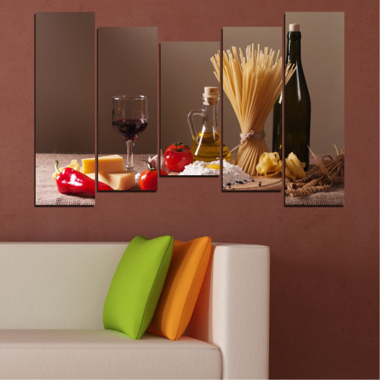 Canvas prints & wall decorative panels - 5 pieces №0081 » Brown, Black, Gray, Dark grey » Culinary, Olive oil, Paste Form #4