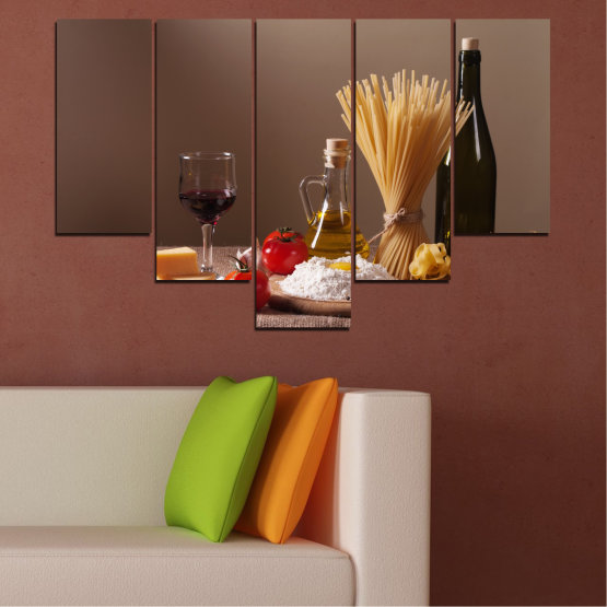 Canvas prints & wall decorative panels - 5 pieces №0081 » Brown, Black, Gray, Dark grey » Culinary, Olive oil, Paste Form #6