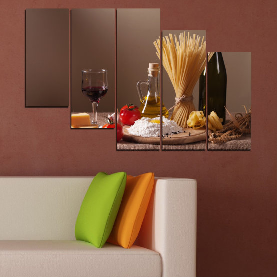 Canvas prints & wall decorative panels - 5 pieces №0081 » Brown, Black, Gray, Dark grey » Culinary, Olive oil, Paste Form #7