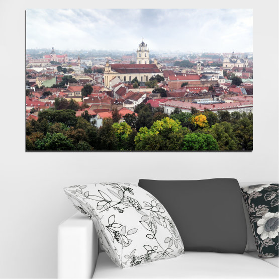 Canvas prints & wall decorative panels - 1 piece №0130 » Black, Gray, White, Dark grey » City, Europe, Vilnius Form #1