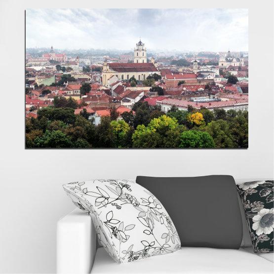 Декоративни панели и картини от канава - от 1 част №0130 » Черен, Сив, Бял, Тъмно сив » Град, Европа, Вилнюс Form #1