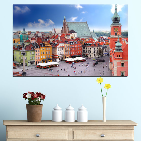 Canvas prints & wall decorative panels - 1 piece №0131 » Blue, Gray, Dark grey » City, Capital, Austria Form #1