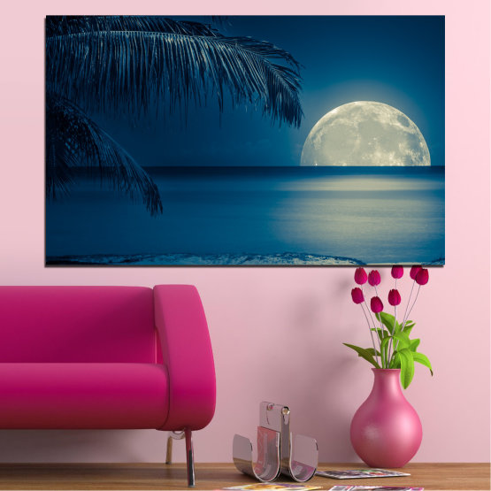 Canvas prints & wall decorative panels - 1 piece №0132 » Purple, Blue, Black » Water, Sea, Ocean, Night, Seaside, Palm Form #1