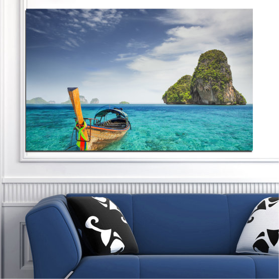 Canvas prints & wall decorative panels - 1 piece №0133 » Blue, Turquoise, Gray, Dark grey » Sea, Ocean, Sky, Seaside, Rocks, Boat Form #1