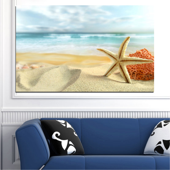 Canvas prints & wall decorative panels - 1 piece №0134 » Gray, White, Beige » Sea, Sky, Summer, Star, Island, Sand, Coral Form #1
