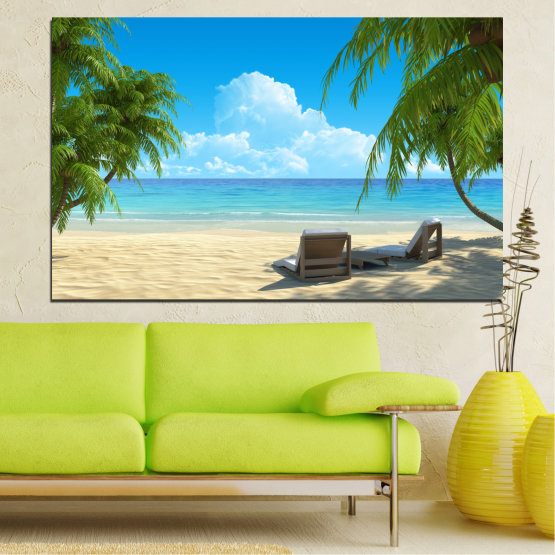 Canvas prints & wall decorative panels - 1 piece №0135 » Blue, Turquoise, Green, Gray, Beige » Landscape, Sea, Water, Summer, Beach Form #1