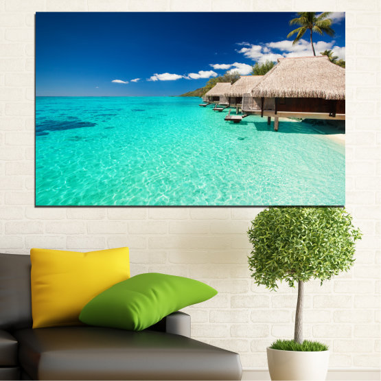 Canvas prints & wall decorative panels - 1 piece №0136 » Blue, Turquoise, Gray, Dark grey » Ocean, Bay, Sky, Palm, Seaside, House Form #1