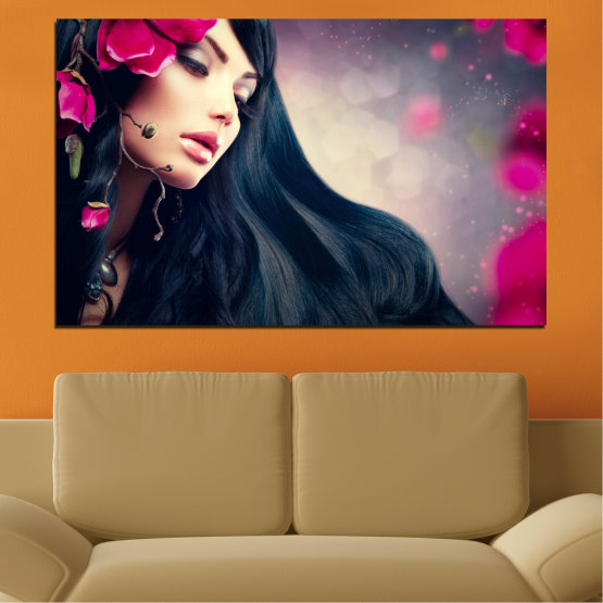 Canvas prints & wall decorative panels - 1 piece №0138 » Red, Black, Gray, Beige, Dark grey » Woman, Fashion, Hair Form #1