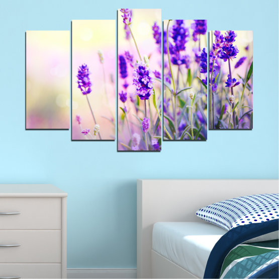 Canvas prints & wall decorative panels - 5 pieces №0082 » Purple, Gray, White, Beige » Flowers, Nature, Lavender Form #1