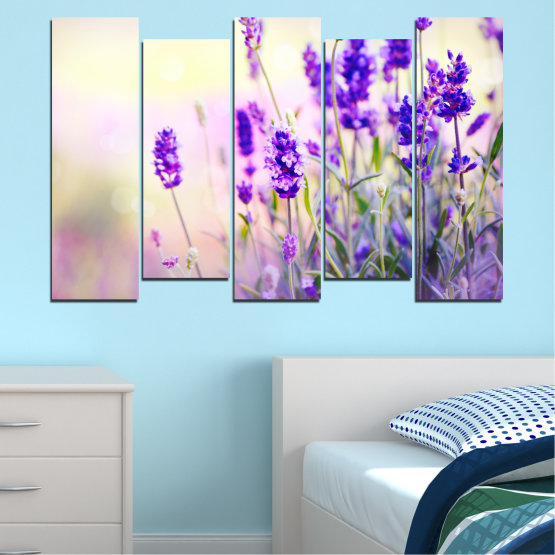 Canvas prints & wall decorative panels - 5 pieces №0082 » Purple, Gray, White, Beige » Flowers, Nature, Lavender Form #3