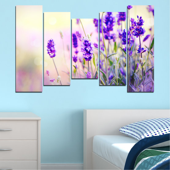 Canvas prints & wall decorative panels - 5 pieces №0082 » Purple, Gray, White, Beige » Flowers, Nature, Lavender Form #4