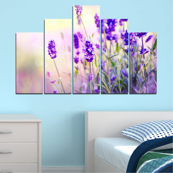 Canvas prints & wall decorative panels - 5 pieces №0082 » Purple, Gray, White, Beige » Flowers, Nature, Lavender Form #5