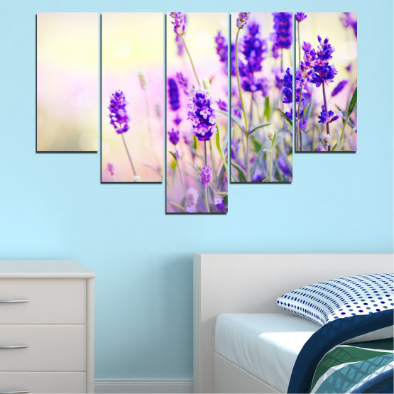 Canvas prints & wall decorative panels - 5 pieces №0082 » Purple, Gray, White, Beige » Nature, Flowers, Lavender Form #6