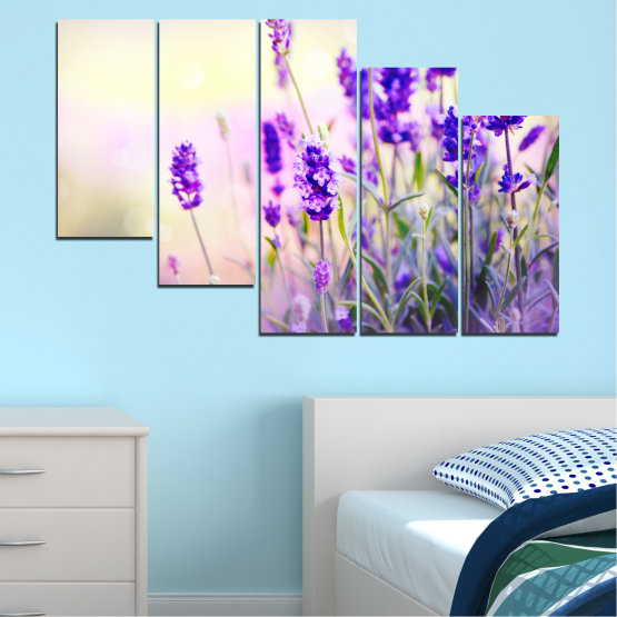 Canvas prints & wall decorative panels - 5 pieces №0082 » Purple, Gray, White, Beige » Flowers, Nature, Lavender Form #7