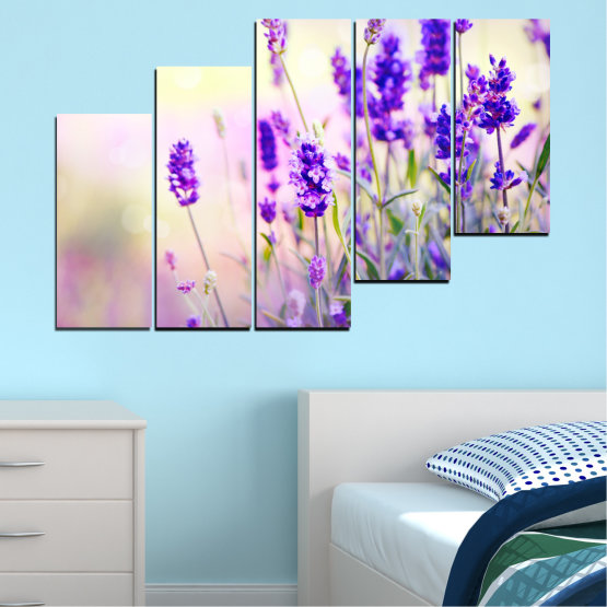 Canvas prints & wall decorative panels - 5 pieces №0082 » Purple, Gray, White, Beige » Flowers, Nature, Lavender Form #8