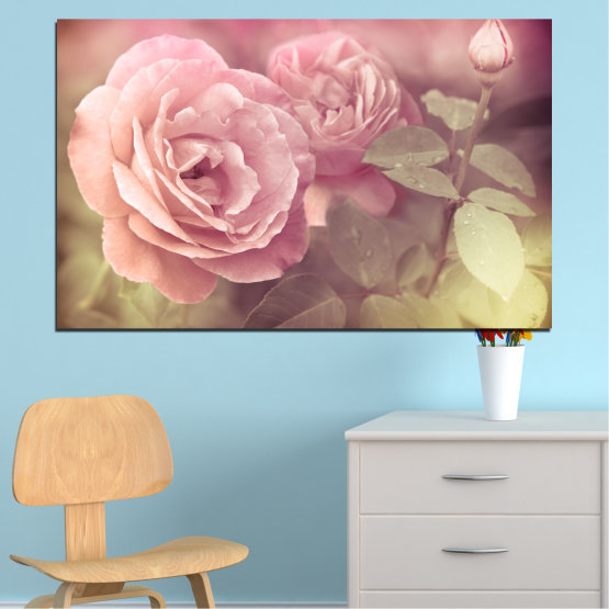 Canvas prints & wall decorative panels - 1 piece №0140 » Pink, Brown, Gray, Beige, Milky pink » Flowers, Freshness, Rose Form #1