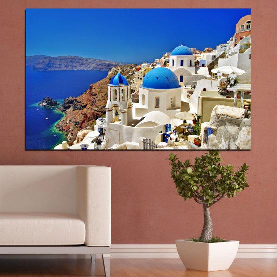 Декоративни панели и картини от канава - от 1 част №0141 » Син, Кафяв, Сив » Пейзаж, Гърция, Къща Form #1