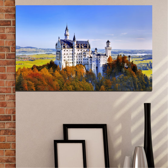 Canvas prints & wall decorative panels - 1 piece №0142 » Turquoise, Brown, Gray, Dark grey » Landmark, Neuschwanstein, Castle, Germany Form #1