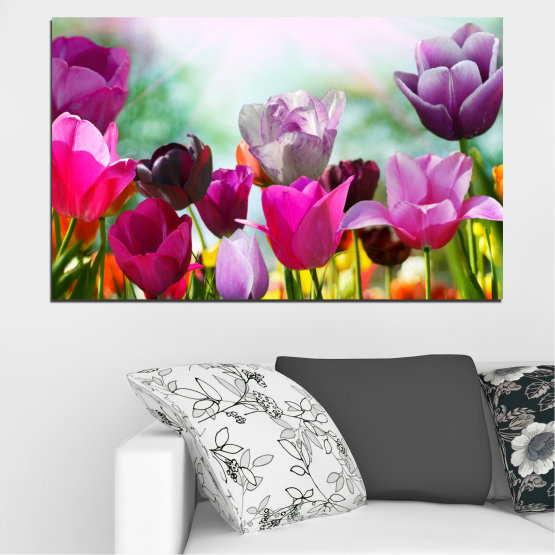 Canvas prints & wall decorative panels - 1 piece №0143 » Red, Purple, Gray, White » Flowers, Garden, Tulip Form #1