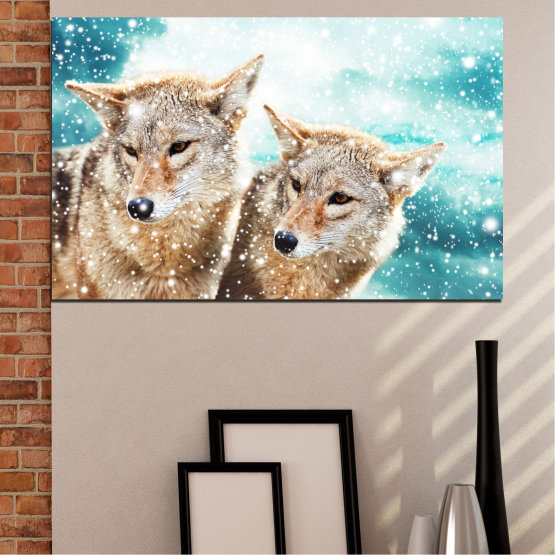 Canvas prints & wall decorative panels - 1 piece №0144 » Brown, Gray, White, Beige » Animal, Wolf, Snow Form #1