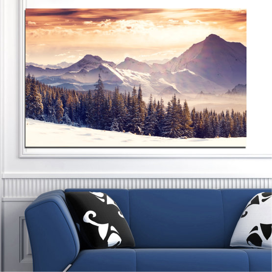 Canvas prints & wall decorative panels - 1 piece №0145 » Gray, White, Beige, Dark grey » Landscape, Forest, Mountain, Snow, Winter Form #1