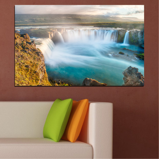 Canvas prints & wall decorative panels - 1 piece №0147 » Gray, White, Dark grey » Nature, Waterfall, Water, Freshness Form #1