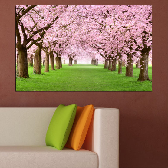 Canvas prints & wall decorative panels - 1 piece №0148 » Green, Brown, Gray, Milky pink » Flowers, Forest, Spring, Freshness Form #1