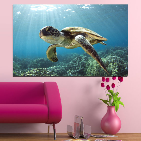 Canvas prints & wall decorative panels - 1 piece №0149 » Blue, Turquoise, Gray, Dark grey » Sea, Landscape, Water, Turtle Form #1