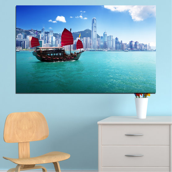 Canvas prints & wall decorative panels - 1 piece №0150 » Blue, Turquoise, Gray, Dark grey » City, Water, Boat, Аsia, China Form #1