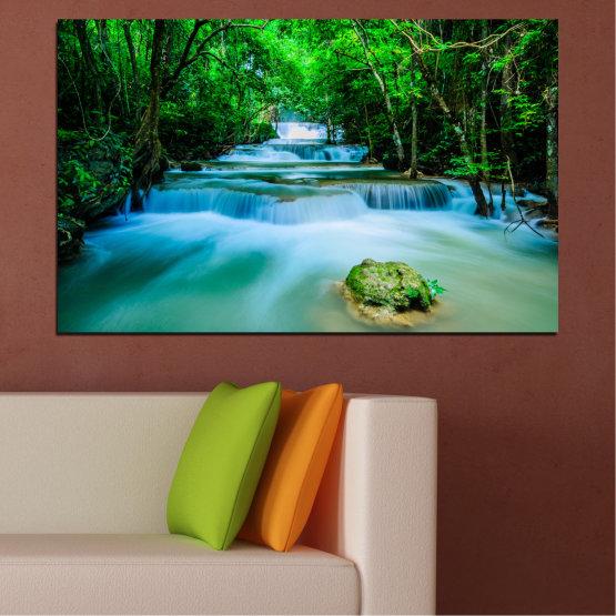 Декоративни панели и картини от канава - от 1 част №0151 » Тюркоаз, Зелен, Черен, Сив, Тъмно сив » Природа, Водопад, Свежест, Гора Form #1
