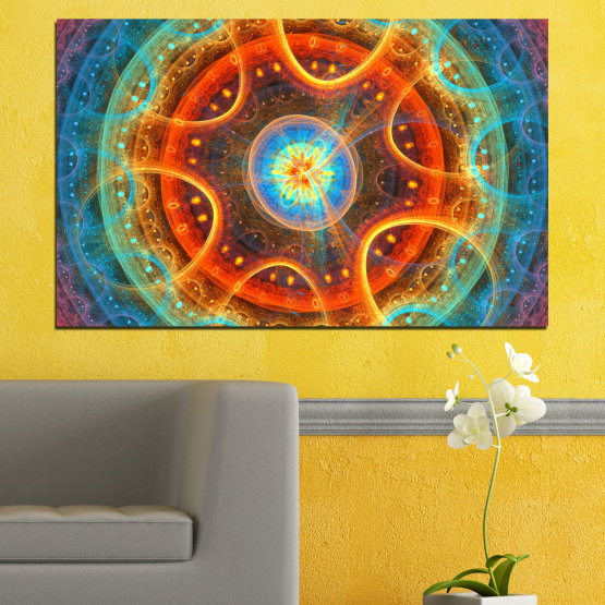Canvas prints & wall decorative panels - 1 piece №0153 » Red, Green, Orange, Brown, Gray, Dark grey » Mandala, Colorful, Symbol, Buddha Form #1