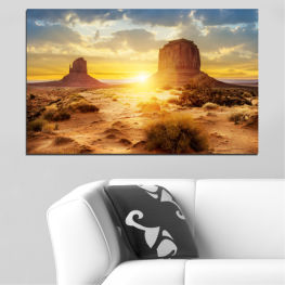 Sun, Sunrise, Desert, Sand, Rocks » Blue, Yellow, Orange, Brown, Gray, Beige