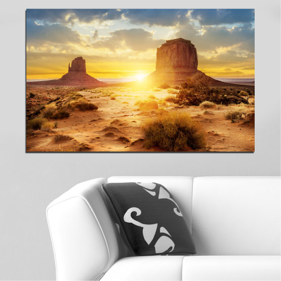 Canvas prints & wall decorative panels - 1 piece №0154 » Blue, Yellow, Orange, Brown, Gray, Beige » Sun, Sunrise, Sand, Desert, Rocks Form #1