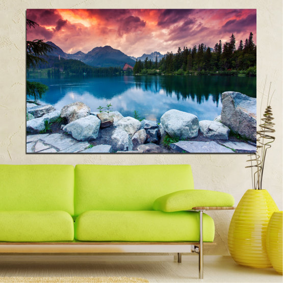 Canvas prints & wall decorative panels - 1 piece №0155 » Red, Pink, Blue, Turquoise, Green, Black, Gray, Milky pink, Dark grey » Nature, Landscape, Water, Sunset, Forest, Mountain, Lake Form #1