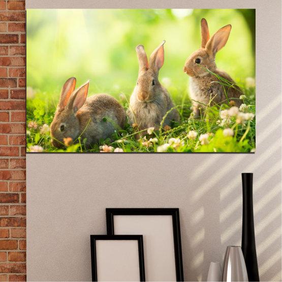 Canvas prints & wall decorative panels - 1 piece №0156 » Green, Yellow, Brown, Beige » Nature, Animal, Sun, Rabbit Form #1