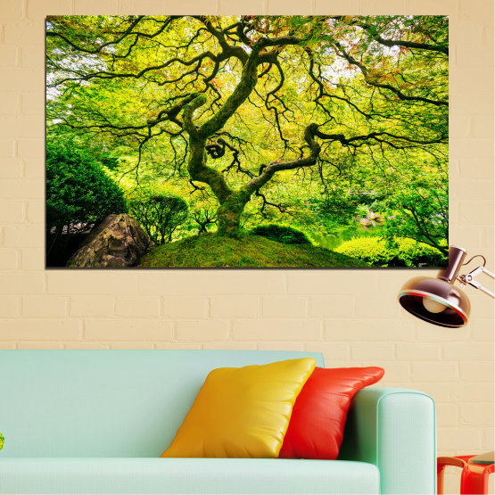 Canvas prints & wall decorative panels - 1 piece №0157 » Green, Yellow, Black » Nature, Forest, Tree Form #1