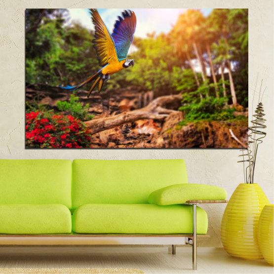 Canvas prints & wall decorative panels - 1 piece №0158 » Green, Orange, Brown, Black » Nature, Birds, Parrot Form #1