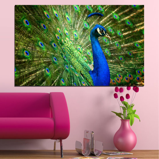 Canvas prints & wall decorative panels - 1 piece №0159 » Blue, Green, Brown, Black » Birds, Peacock, Feather Form #1