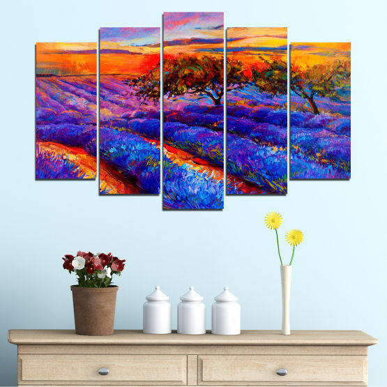 Canvas prints & wall decorative panels - 5 pieces №0084 » Red, Purple, Blue, Yellow, Orange, Dark grey » Flowers, Nature, Drawing, Lavender, Art, Field Form #1