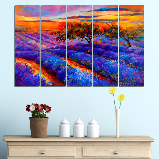Canvas prints & wall decorative panels - 5 pieces №0084 » Red, Purple, Blue, Yellow, Orange, Dark grey » Flowers, Nature, Drawing, Lavender, Art, Field Form #2