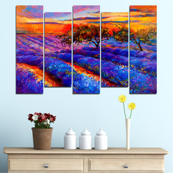 Canvas prints & wall decorative panels - 5 pieces №0084 » Red, Purple, Blue, Yellow, Orange, Dark grey » Flowers, Nature, Drawing, Lavender, Art, Field Form #3