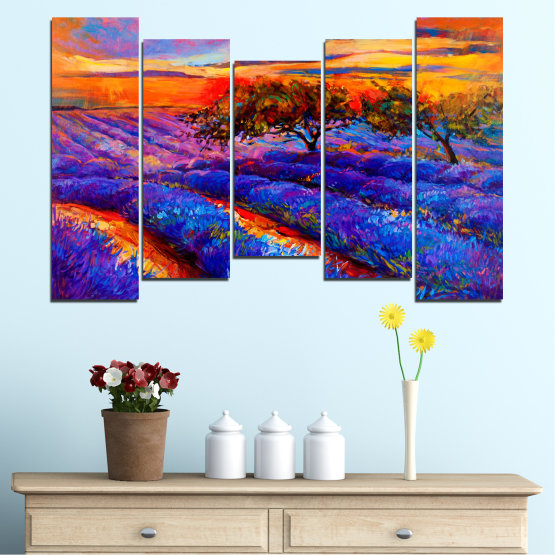 Canvas prints & wall decorative panels - 5 pieces №0084 » Red, Purple, Blue, Yellow, Orange, Dark grey » Flowers, Nature, Drawing, Lavender, Art, Field Form #4