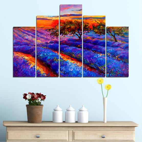 Canvas prints & wall decorative panels - 5 pieces №0084 » Red, Purple, Blue, Yellow, Orange, Dark grey » Flowers, Nature, Drawing, Lavender, Art, Field Form #5