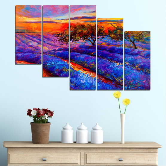 Canvas prints & wall decorative panels - 5 pieces №0084 » Red, Purple, Blue, Yellow, Orange, Dark grey » Flowers, Nature, Drawing, Lavender, Art, Field Form #7